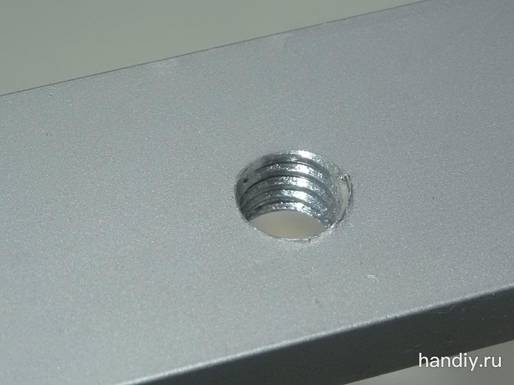 """Фотография Алюминиевая полоса толщиной 6 мм, отверстие 5,5 мм, нарезана дюймовая резьба 1/4""""-20"""