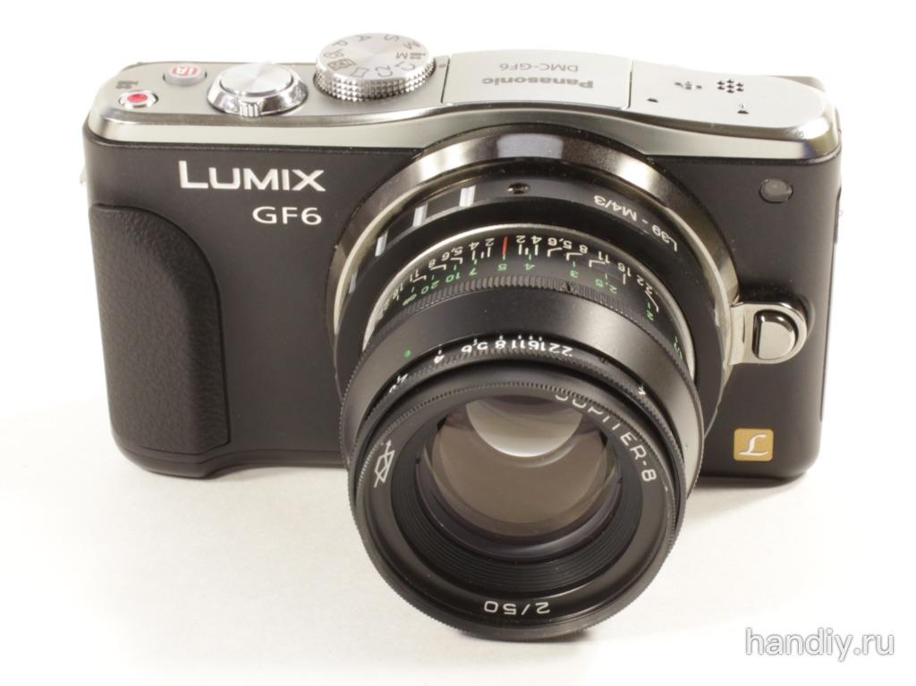 Юпитер-8 портретный объектив для Panasonic Lumix DMC-GF6. Переходник М39-М4/3 для его установки.