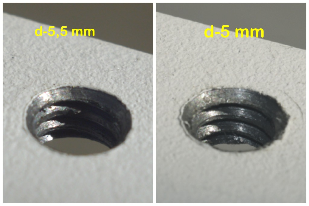 Фото Два вида внутренней дюймовой резьбы нарезанной в стальной пластине толщиной 4 мм и диаметром высверленных отверстий 5 и 5,5 мм
