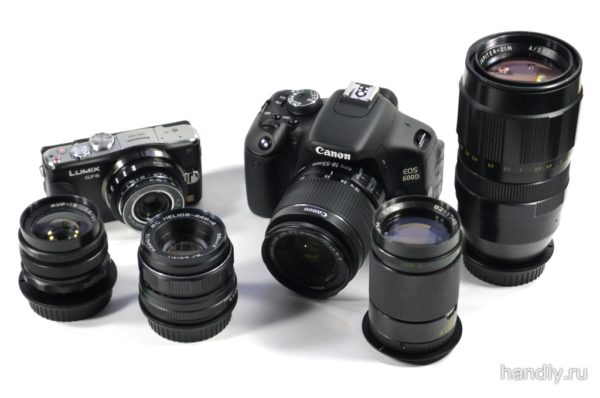 Фотография Canon EOS-600D kit 18-55 Мир-1В Гелиос 44-М4 Юпитер-37А Юпитер-21М На заднем плане слева Panasonic Lumix DMC-GF6 Индустар-69