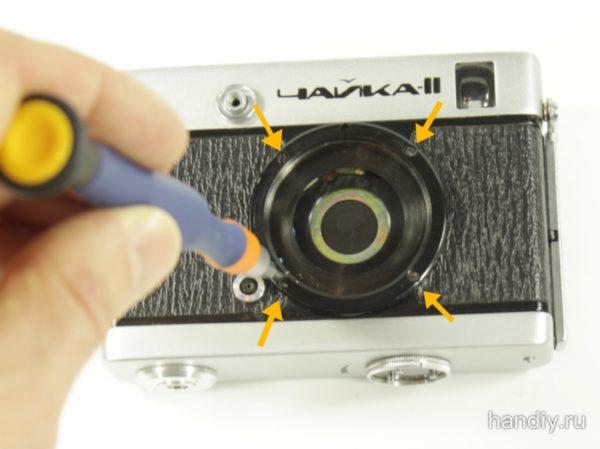 Фотография Разборка фотоаппарата пленочного фотоаппарата Чайка 2 снятие объектива Индустар 69