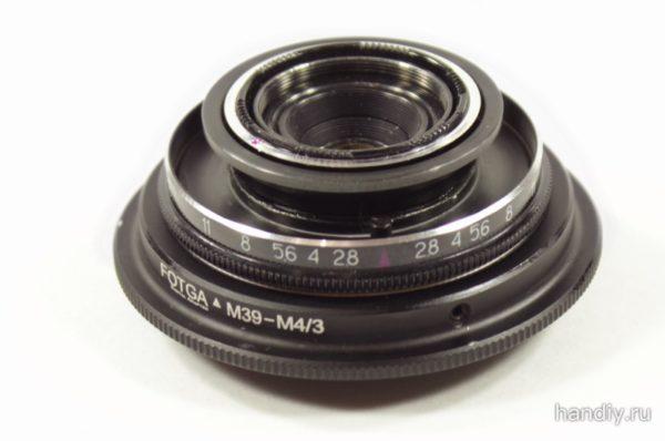 Фотография Разбранный объектив Индустар 69 на переходнике адапторе Fotga m39 - m4/3