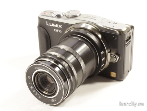 Фотография фото Цифровой фотоаппарат Panasonic DMC-GF6 Lumix с установленным Индустар 69 и комплектом удлинительных колец для макросъемки м39