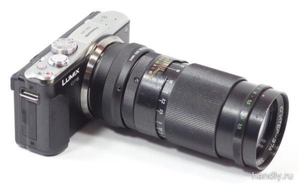 Фотография фотоаппарат Panasonic Lumix DMC-GF6 с установленным объективом Юпитер 37А