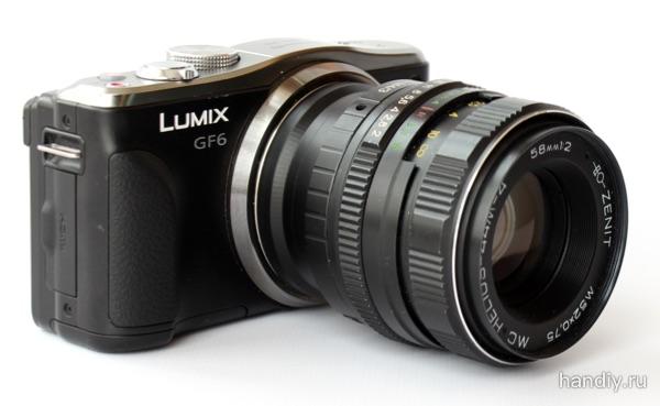 Гелиос 44М-4 58 мм 1:2 устанавливаем объектив на фотоаппарат Panasonic Lumix DMC-GF6.